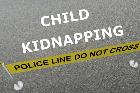 kidnapping: Render illustration of Child Kidnapping title on the ground in a police arena
