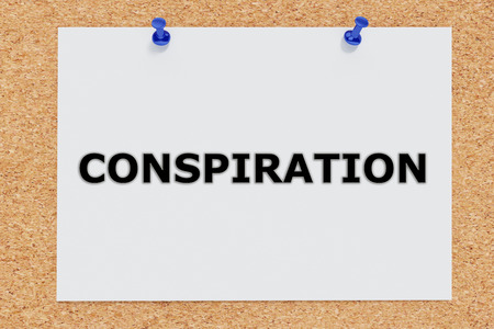 ufo conspiracy theory: Render illustration of Conspiration script on cork board