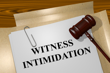Render illustration of Witness Intimidation title on Legal Documents Stock Photo