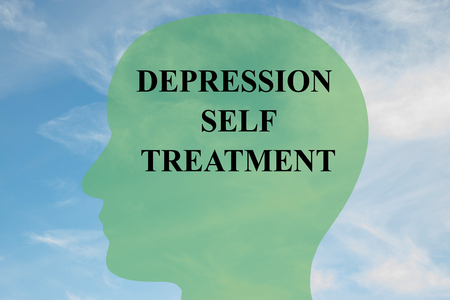 low self esteem: Render illustration of Depression Self Treatment title on head silhouette, with cloudy sky as a background