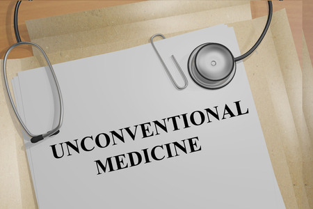 unconventional: Render illustration of Unconventional Medicine title on Medical Documents Stock Photo