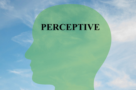 epistemology: Render illustration of Perceptiver title on head silhouette, with cloudy sky as a background