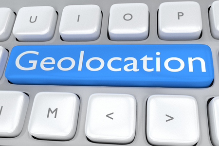 geolocation: Render illustration of computer keyboard with the print Geolocation on a pale blue button