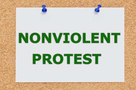 nonviolent: Render illustration of Nonviolent Protest script on cork board