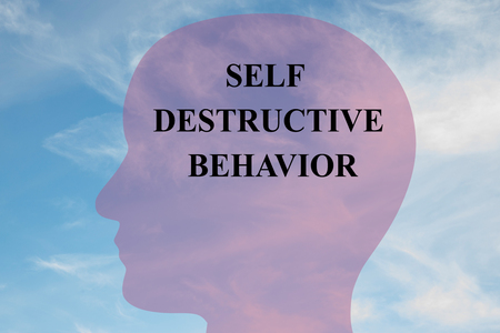 inhibition: Render illustration of Self Destructive Behavior title on head silhouette, with cloudy sky as a background.