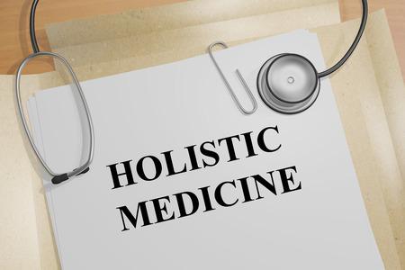 Render illustration of Holistic Medicine Title On Medical Documents