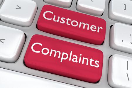 Geef illustratie van het toetsenbord van de computer met de afdruk Klachten van klanten op twee aangrenzende rode knoppen Stockfoto
