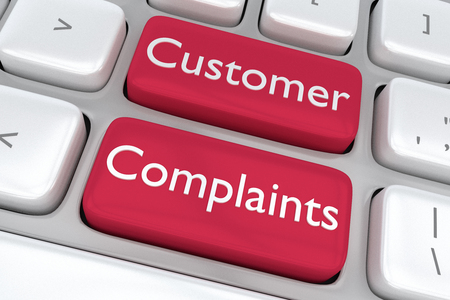 Render illustration of computer keyboard with the print Customer Complaints on two adjacent red buttons