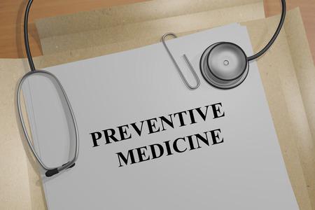 preventive medicine: Render illustration of Preventive Medicine Title On Medical Documents