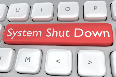 shut down: Render illustration of computer keyboard with the print System Shut Down on a red button