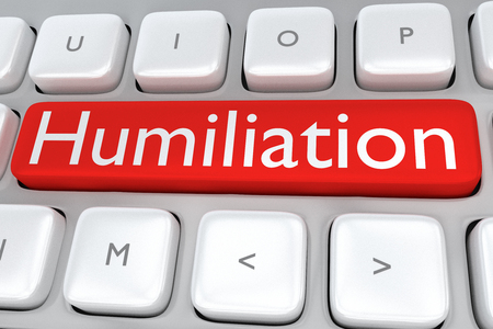 humiliation: Render illustration of computer keyboard with the print Humiliation on a red button