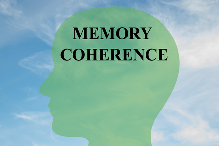 coherence: Render illustration of Memory Coherence title on head silhouette, with cloudy sky as a background