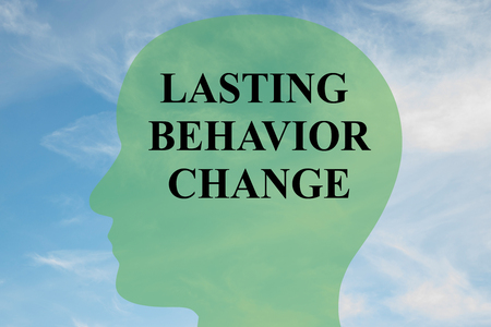 lasting: Render illustration of Lasting Behavior Change title on head silhouette, with cloudy sky as a background