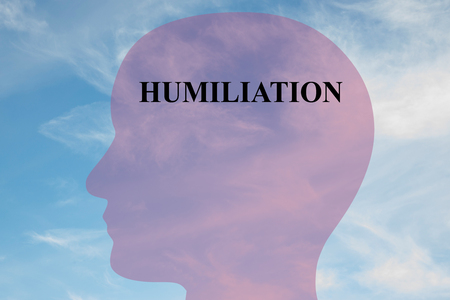 humiliation: Render illustration of Humiliation title on head silhouette, with cloudy sky as a background. Stock Photo