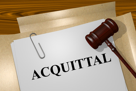 court proceedings: Render illustration of Acquittal title on Legal Documents Stock Photo