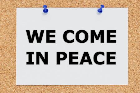 come in: Render illustration of We Come in Peace script on cork board