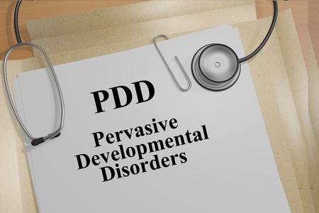 pervasive: Render illustration of PDD (Pervasive  Developmental Disorders) title on medical documents Stock Photo