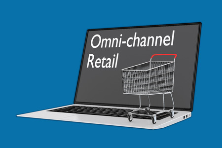 Render illustration of Omni Channel Retail concept with a supermarket cart placed on the keyboard. Stock Photo