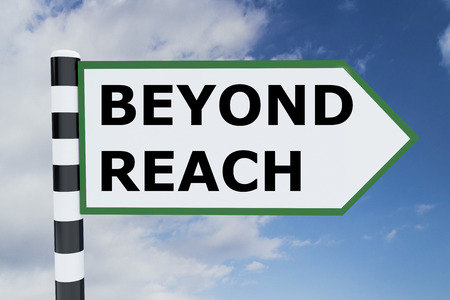 beyond: Render illustration of Beyond Reach title on road sign Stock Photo