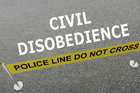 disobedience: Render illustration of Civil Disobedience title on the ground in a police arena