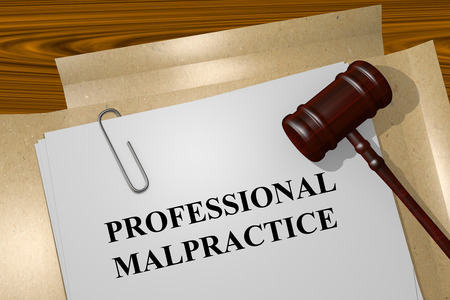 malpractice: Render illustration of Professional Malpractice title on Legal Documents Stock Photo