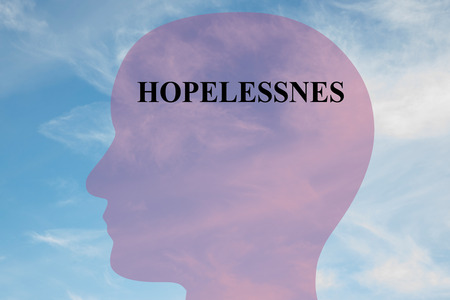 hopelessness: Render illustration of Hopelessness title on head silhouette, with cloudy sky as a background.