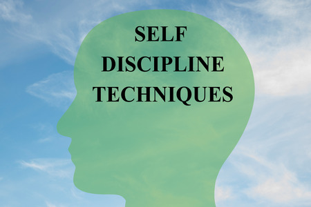 techniques: Render illustration of Self Discipline Techniques title on head silhouette, with cloudy sky as a background