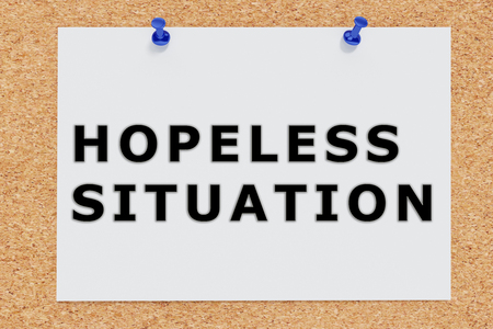 Render illustration of Hopeless Situation script on cork board Stock Photo