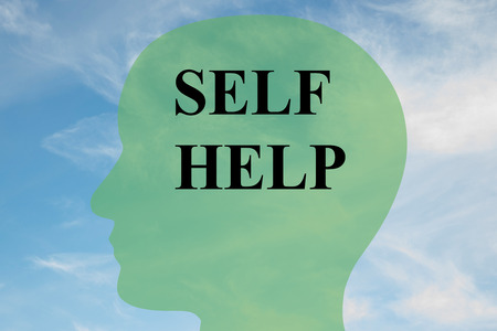 self help: Render illustration of Self Help title on head silhouette, with cloudy sky as a background