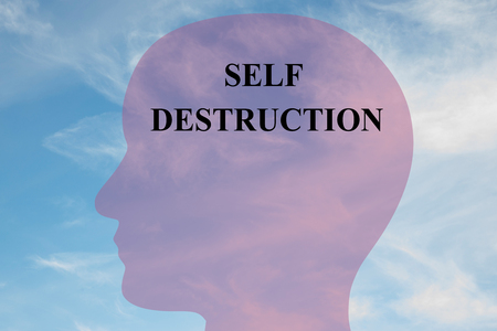 Render illustration of Self Destruction title on head silhouette, with cloudy sky as a background.