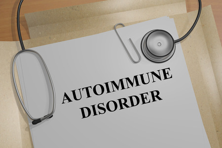 autoimmune: Render illustration of Autoimmune Disorder Title On Medical Documents