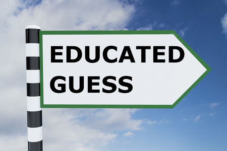 Render illustration of Educated Guess title on road sign