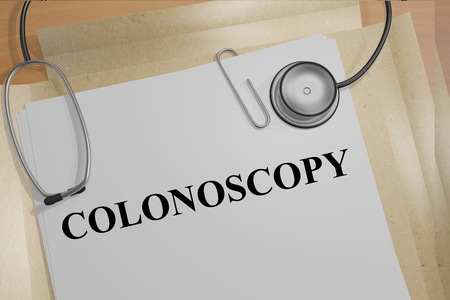 colonoscopy: Render illustration of Colonoscopy title on medical documents Stock Photo