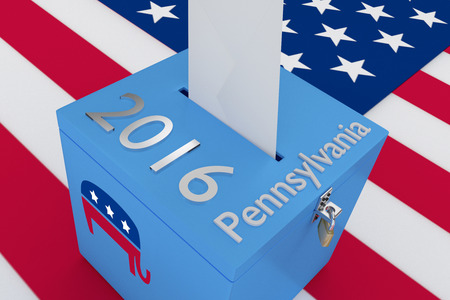 nomination: Render illustration of 2016 and Ohio titles with the elephant icon on ballot box , isolated on white, with US flag as a background.
