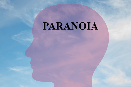 paranoia: Render illustration of Paranoia title on head silhouette, with cloudy sky as a background.