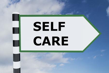 self care: Render illustration of Self Care title on road sign