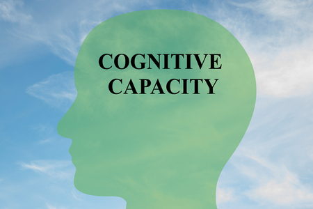 cerebral palsy: Render illustration of Cognitive Capacity title on head silhouette, with cloudy sky as a background