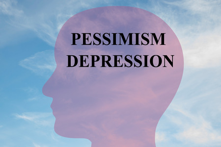 pessimism: Render illustration of Pessimism Depression title on head silhouette, with cloudy sky as a background.