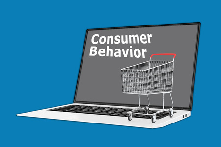 storage data product: Render illustration of Consumer Behavior concept with a supermarket cart placed on the keyboard. Stock Photo