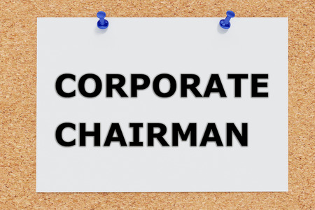 the chairman: Render illustration of Corporate Chairman script on cork board Stock Photo