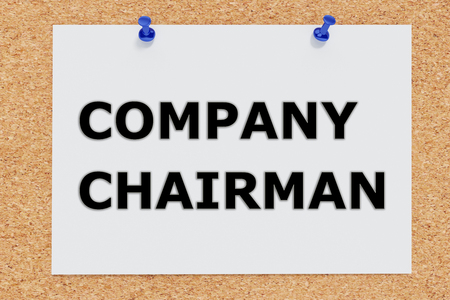 the chairman: Render illustration of Company Chairman script on cork board Stock Photo