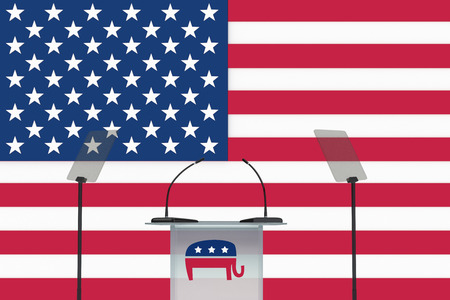 primaries: Render illustration of donkey icon on podium front, and US flag as a background.