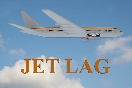 lag: Render illustration of Jet Lag title on cloudy sky as a background, under an airplane.
