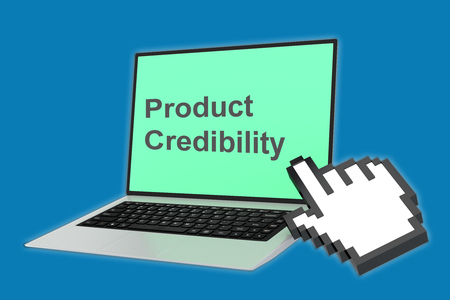 plausible: Render illustration of Product Credibility concept with pointing hand icon pointing at the laptop screen.