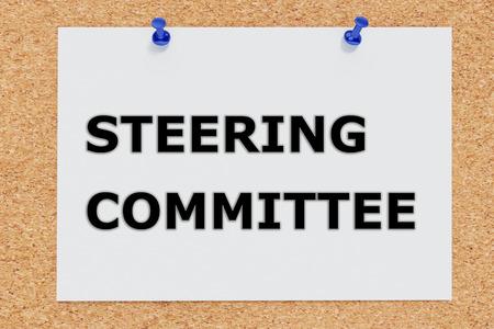 Render illustration of Steering Committee script on cork board