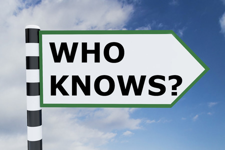 ambiguous: Render illustration of Who Knows? title on road sign