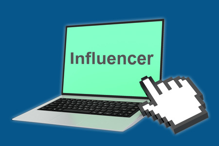 influencer: Render illustration of Influencer title with pointing hand icon pointing at the laptop screen. Stock Photo