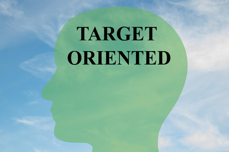 oriented: Render illustration of Target Oriented title on head silhouette, with cloudy sky as a background Stock Photo