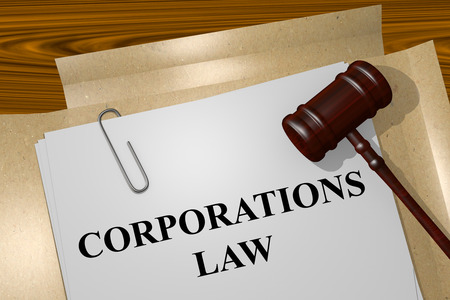 Corporations: Render illustration of Corporations Law title on Legal Documents