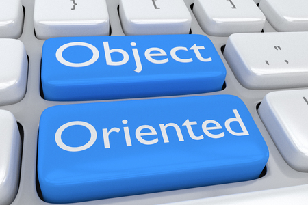 oriented: Render illustration of computer keyboard with the print Object Oriented on two adjacent pale blue buttons Stock Photo
